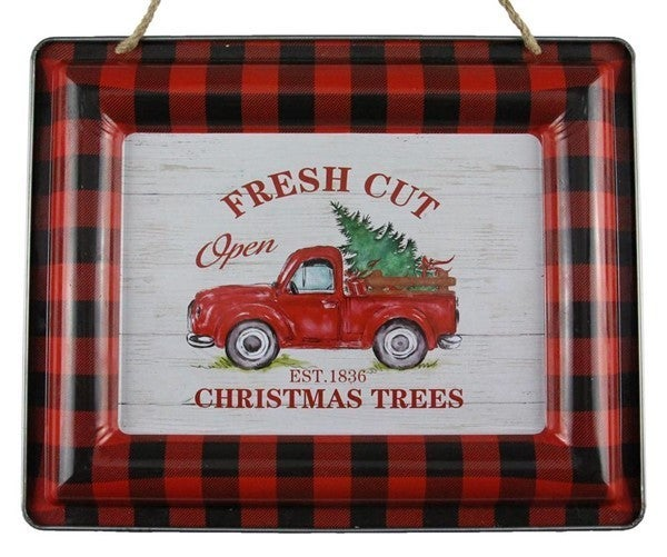 "12""L X 9.5""H Christmas Trees/Truck Sign"