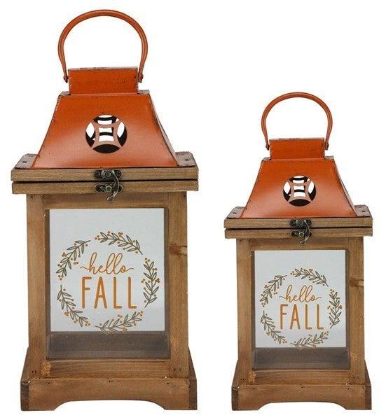 """S/2 13""""-17""""H Hello Fall/Wreath Lanterns"""