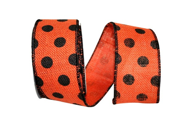 Dot Burlap Orange Wired Edge, Orange/black, 2-1/2 Inch, 10 Yards