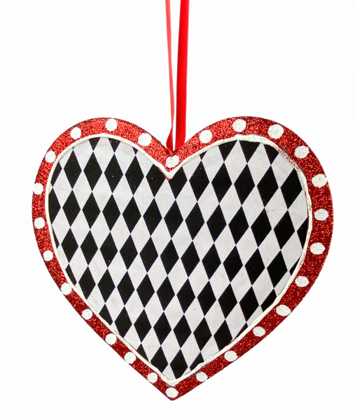 ORN Heart W8xH8 Black/white/Red