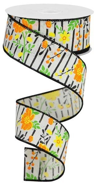 """1.5""""X10yd Floral Lines On Royal Ivory/Orange/Yellow"""