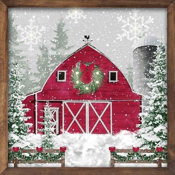 "10""Sq Winter Barn Sign W/Lights"