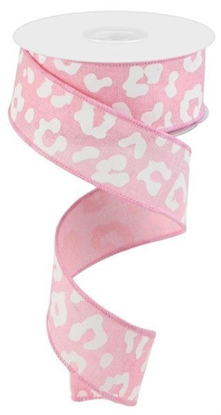 "1.5""X10yd Animal Print On Royal Color: Light Pink/White"