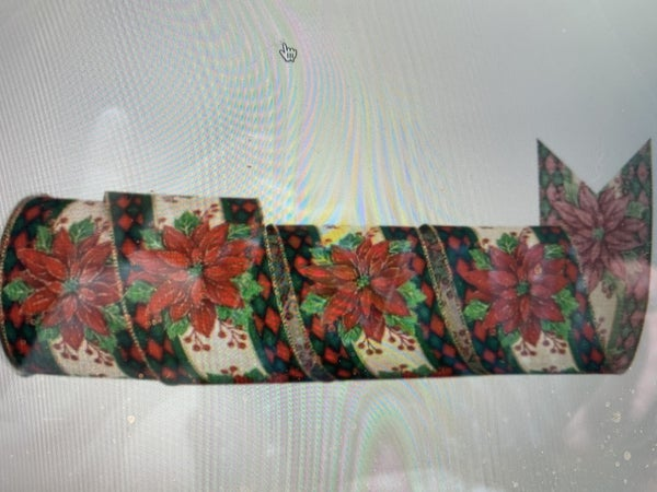 "4""X10Y CHECK EDGE POINSETTIA WIRED RIBBON"