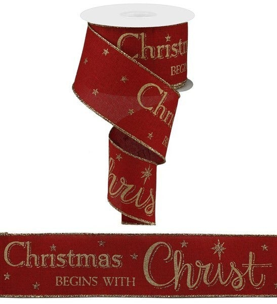 """2.5""""X10yd Christmas Begins With Christ Red"""