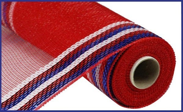 "10.25""X10YD BORDER STRIPE METALLIC MESH Color: Red/White/Blue"