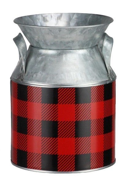 "7'H X 5""Dia Galvanized Check Milk Can Red/Black/Galvanized"