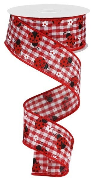 "1.5""X10yd Mini Ladybugs/Check Red/White"