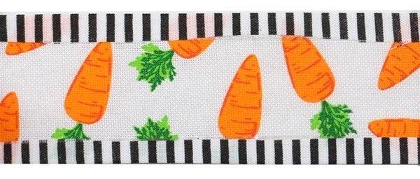 "1.5""X10yd Carrots/Thin Stripe Color: White/Orange/Green/Black"