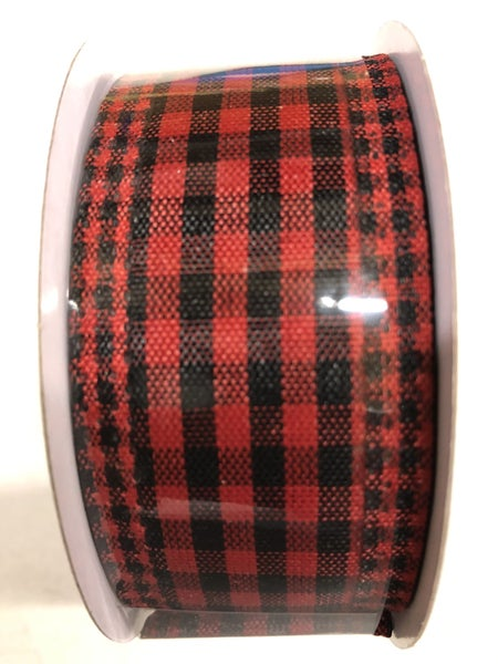 "1.5""X10yd Gingham Check/Edge Red/black"