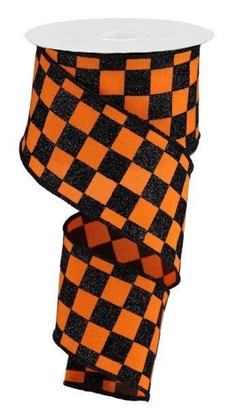 "2.5""X10yd Glitter Check Orange Black"