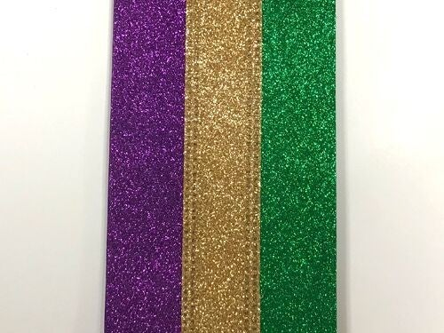 "2.5""X10 PURPLE GOLD EMERALD GLITTER RIBBON"