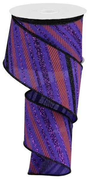 """2.5""""X10yd Multi Diagonal Stripes/Royal Purple/Black/Orange"""