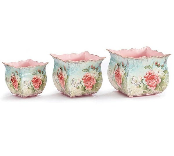 ROSABELLA TIN NESTED PLANTER SET of 3