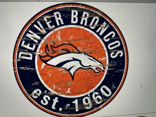 """12"""" Destressed Wooden NFL Circle Sign - Denver Broncos"""