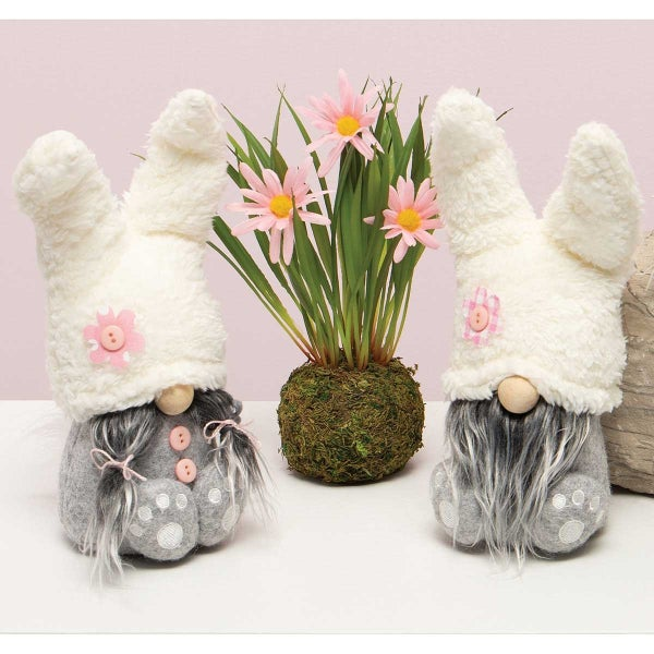 LOP EAR BUNNY GNOME WITH PAWS, GREY HAIR, WOOD NOSE, GREY