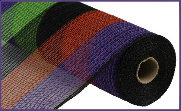 "10.5""X10yd Pp/Faux Jute Wide Stripe Mesh Color: Blk/Prpl/Fresh Grn/Org"
