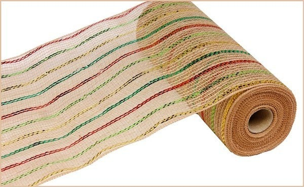 "10.5""X10yd Poly/Jute/Metallic Mesh Color: Red/Lime/Gold/Emrld/Ntrl"