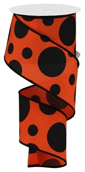 "2.5""X10yd Giant Two Size Dots/Pg Fabric Dark Orange"