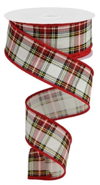 """1.5""""X10yd Printed Plaid Look/Cotton Color: Navy/Dk Grn/Red/Yllw/Wht"""