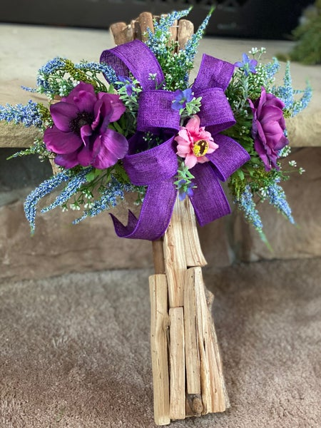 Purple Spring Cross Wreath/Wall Decor