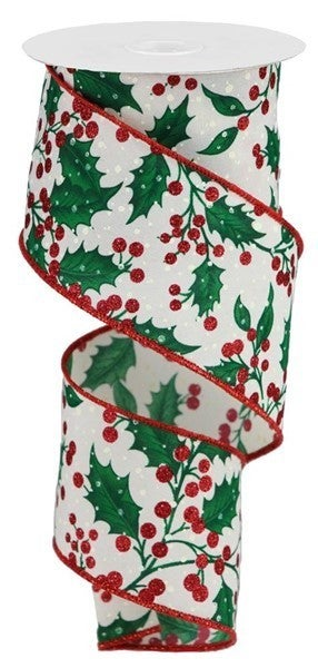 "2.5""X10yd Holly Leaves/Berries Color: Cream/Red/Green/Ivory"