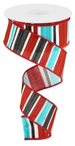 """1.5""""X10yd Multi Width Horizontal Stripe Color: White/Red/Blk/Ice Blue"""