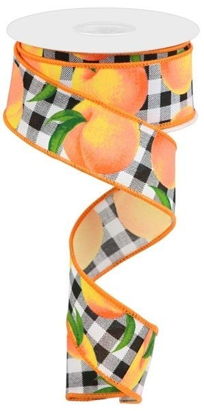 """1.5""""X10yd Peaches/Gingham On Pg Blk/WH"""