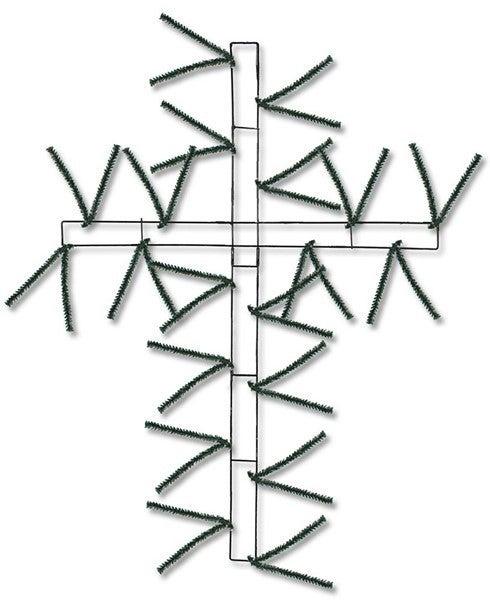 """27""""H Wire, 37""""Oah Pencil Work Cross Green"""