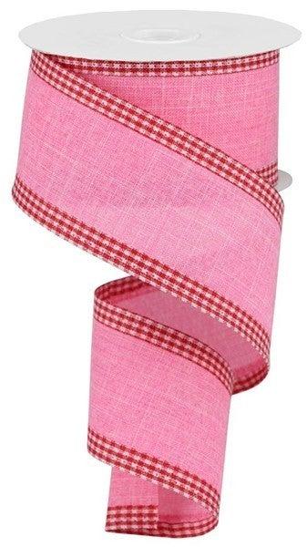 "2.5""X10yd Royal Burlap Gingham Edge Pink/Red/White"