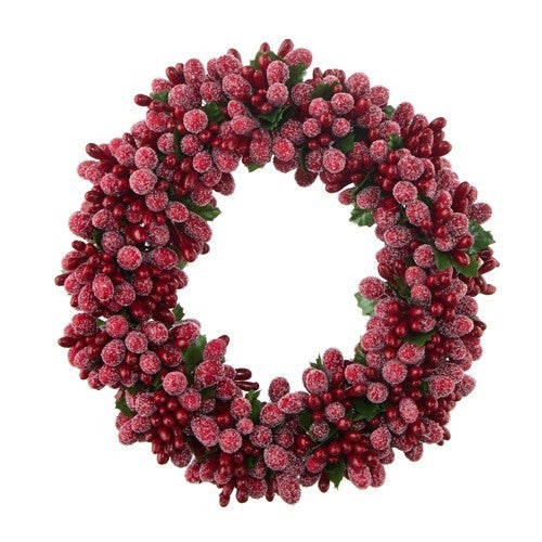 """5.5"""" Beaded Berry Candle Ring"""