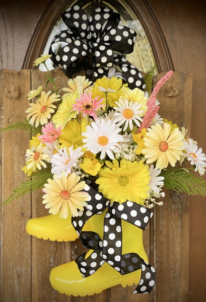 Rain Boot Floral Door Hanger