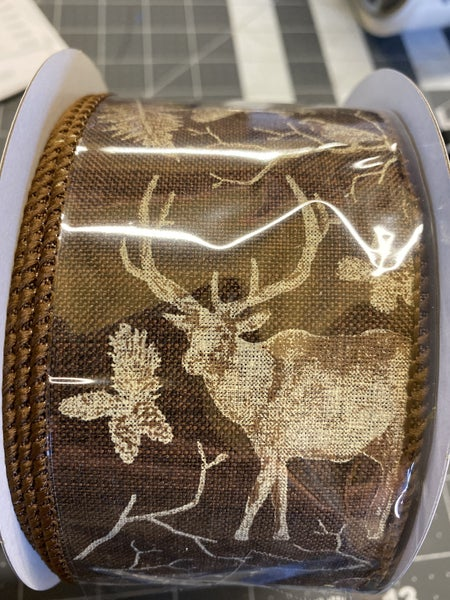 "2.5""X10YD WOODLAND ANIMALS ON ROYAL Color: DK BROWN/IVORY/BROWN"