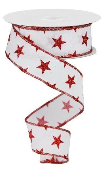 "1.5""X10yd Stars On Royal White/Red"