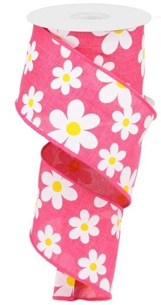 "2.5""x10yd Flower Daisy Print On Royal Color: Hot Pink/White/Yellow"