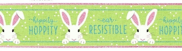 "2.5""X10yd Peeking Bunny On Royal Bright Green"