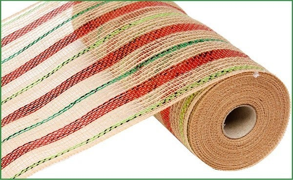 "10.5""X10yd Poly/Jute/Metallic Mesh Color: Natural/Red/Lime/Emerald"