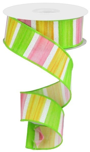 """1.5""""X10yd Watercolor Stripes/Royal Color: Yellow/Pink/Green/White"""