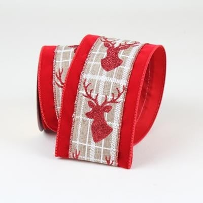 "PLAID DEER  2.5"" X 10YD / RED"