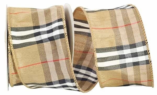 "PLAID DUPIONI BROWN WIRED EDGE Tan/Black 2.5""x10 yd"