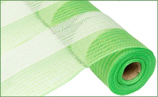 "21""X10YD POLY/FAUX JUTE WIDE STRIPE Color: Fresh Green/Cream"