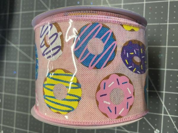 "2.5""x10yd Donut Ribbon on Royal Pink/Brn/Blue/Purple/Yellow/White"