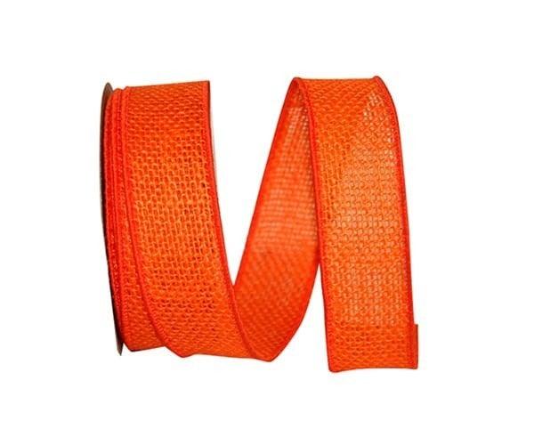 BUR 6 - Burlap Colored Wired Edge, Orange, 1-3/8 Inch, 10 Yards