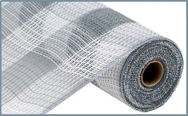 "10.5""X10yd Faux Jute/Pp Large Check White/Grey"