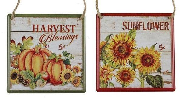 """5""""Sq Metal Sunflower/Pumpkin Sign"""