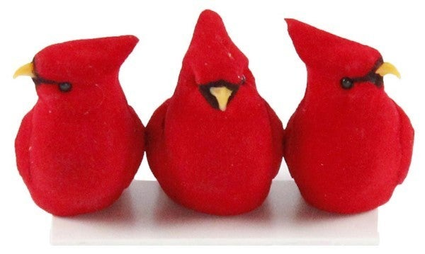 "3.5""L Velvet/Feather Cardinal W/Clip Dozen"