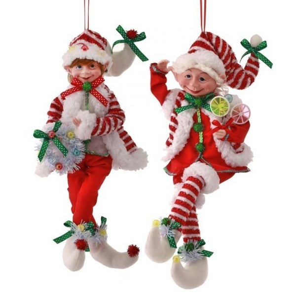 "17"" FABRIC BENDABLE CANDY ELF ORNAMENT"