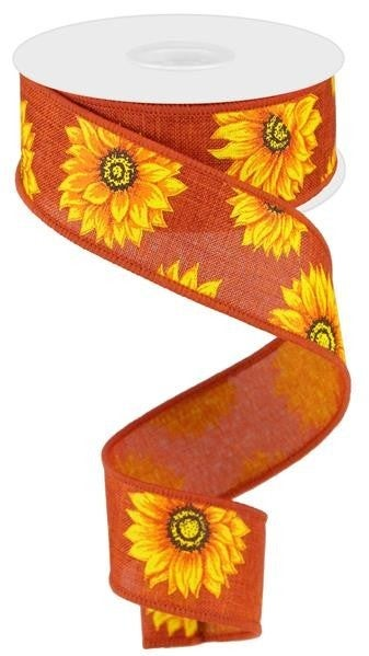 "1.5""X10YD MULTI SUNFLOWERS/ROYAL RUST/YLW/ORNG/RUST/BRN"