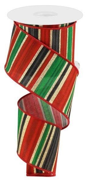 "2.5""X10yd Multi Width Horizontal Stripe Color: White/Red/Blk/Emrld"