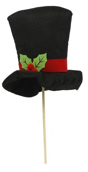 "9""H Felt Top Hat On Wood Stick"